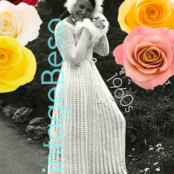 Crochet PATTERN Vintage Wedding Dress Mother and Daughter Long Sleeve Maxi Dresses 70s Summer Wear VintageBeso Instant Download PDF Pattern