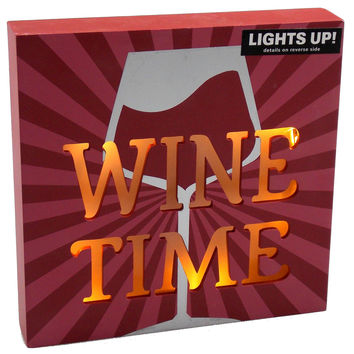 Prinz Wine Time LED Plaque Light Up Glass Home Decor Kitchen Wall Hanging Saying