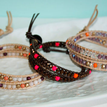 Faceted Preciosa Czech Fire-Polished Glass Beads in Bronze and Neon & Swarovski Button Double Wrap Leather Bracelet Kaya Jewelry