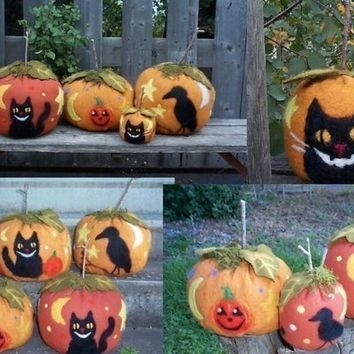 Halloween Needle Felted Pumpkin PDF Pattern  by Hudsonsholidays
