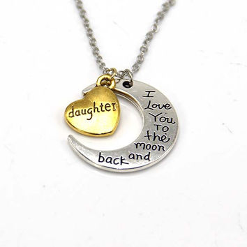 Hand stamped I Love You to the Moon and Back Charm Necklace Silver Gold daughter +Gift Box
