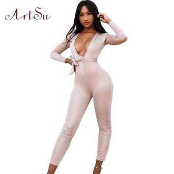 ArtSu Sexy Deep V Romper Bright Silk Club Jumpsuit Women Lace Up Playsuit Slim Long Overalls Autumn Winter Catsuit ASJU30169