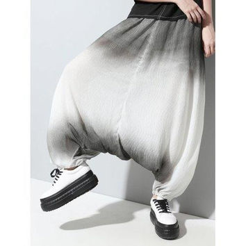 Stylish Elastic Waist Loose-Fitting Ombre Women's Harem Pants