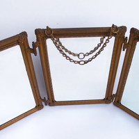 AntiqueTrifold Mirror Victorian Edwardian Beveled by Misstiques