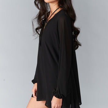 Show Me Your mumu Jamie Tunic ~ Black Chiffon
