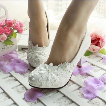 3CM/4.5CM/8.5CM/11CM 2015 women's spring and summer wedding shoes white lace pearl wedding shoes bride bridesmaid shoes