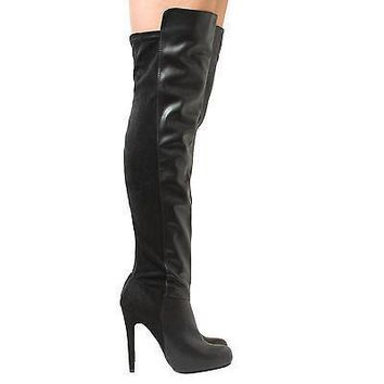 Pamela13 Black Pu By Breckelle's, Dual Fabric Almond Toe Over Knee Stiletto Heel Boots