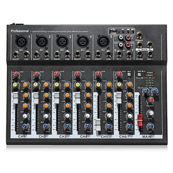LEORY Karaoke Mixer Professional 7 Channel  Studio Audio Mixing Console Amplifier Digital Microphone Sound Mixer Sound Card