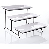 """3 Tier Collapsible Thicker Sturdier Plate Rack Stand With Plates - Three Tiered Cake Serving Tray - Dessert Fruit Presentation - Party Food Server Display Set - 3 White 12' x 6"""" Porcelain Plates Incl."""