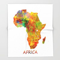 Africa map colored Throw Blanket by Jbjart | Society6