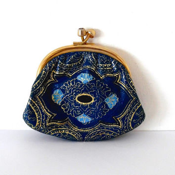 Blue tulip faux leather purse / gold / metallic / shimmery / navy / gold tone / gift / boho / vintage / wallet / small clasp coin purse