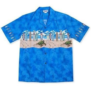 turtle surf blue hawaiian border shirt