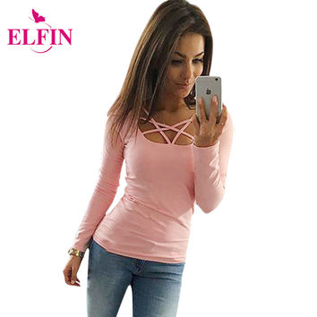 2017 Autumn T Shirt Women Long Sleeve Slim Fit Fashion Ladies Top Hollow Out Tops Tee Solid LJ4515R