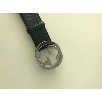 Gucci Belt Black Leather Mens Size 38 Silver Buckle