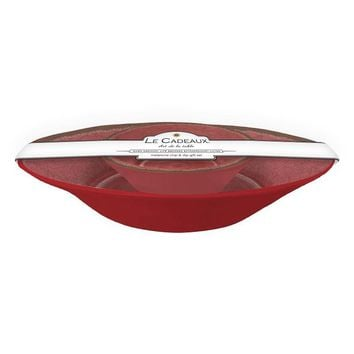 Le Cadeaux Antiqua Red Chip and Dip 2 Bowl Set