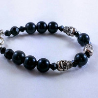 Women's bracelet, beaded jewelry, skull charms, Halloween jewelry, black beads