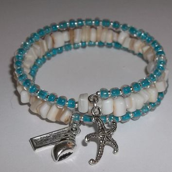 Seashell Themed Teal Blue Glass and Mother of Pearl Chip Artisan Crafted Wrap Bracelet