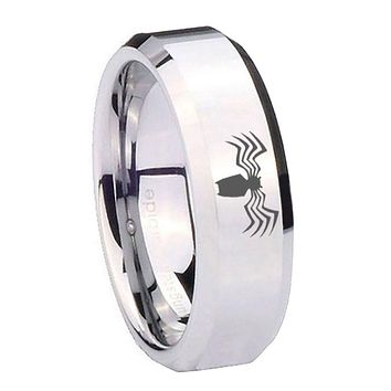 8MM Mirror Bevel Edges Spider Silver Tungsten Laser Engraved Ring