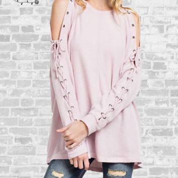 Lace Up Fleece Tunic - Dusty Pink