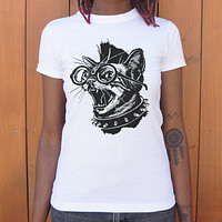Ladies Punk Cat T-Shirt
