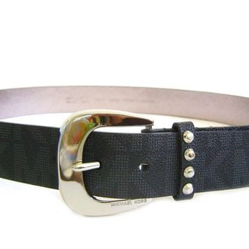 Michael Kors Signature Jaquard Black Belt Silver Buckle Astor Stud Loop
