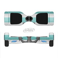 The Teal Stripes with Gray Nautical Anchor Full-Body Skin Set for the Smart Drifting SuperCharged iiRov HoverBoard