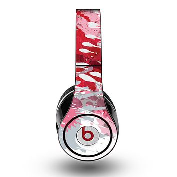 The Abstract Red, Pink and White Paint Splatter Skin for the Original Beats by Dre Studio Headphones