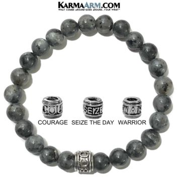 Mantra Motivation Bracelet | Black Moonstone | COURAGE | SEIZE THE DAY | WARRIOR