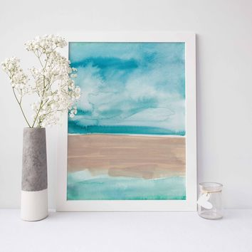 Abstract Beach Ocean Painting Watercolor Wall Art Print