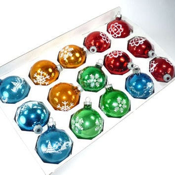 Vintage Christmas Ornaments Stenciled Set of 15 Red Green Blue Gold Mercury Glass