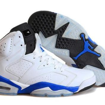 Hot Nike Air Jordan 6 Retro Women Shoes White Blue Black