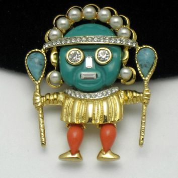Kenneth Jay Lane Aztec Warrior Brooch Pin Vintage KJL