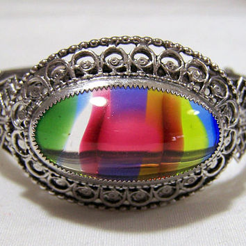 Whiting Davis Art Glass Bracelet,  Large Rainbow Cabochon, Silver Tone Hinged Bangle, Mid Century Jewelry, Filigree Design 717