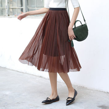 Yichaoyiliang Summer Women Mid-Calf Length Midi Skirt High Waist Mesh Black Skirt Elegant Tutu A-line Skirt