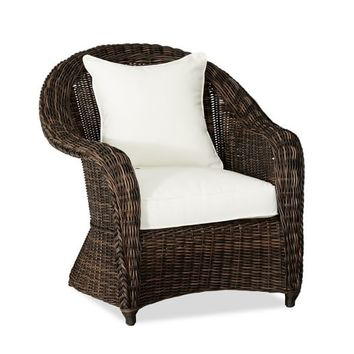 TORREY ALL-WEATHER WICKER ROLL ARM OCCASIONAL CHAIR - ESPRESSO