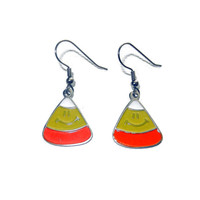 Candy Corn Earrings, Halloween Earrings, Dangle Earrings