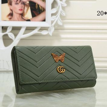 Gucci Stylish Women Metal Letter Butterfly Leather Purse Wallet Army Green I-MYJSY-BB