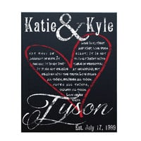 Love Is, Wedding Gift Canvas Art, Personalized Canvas Frame, Black & White With Red Heart, 16x20