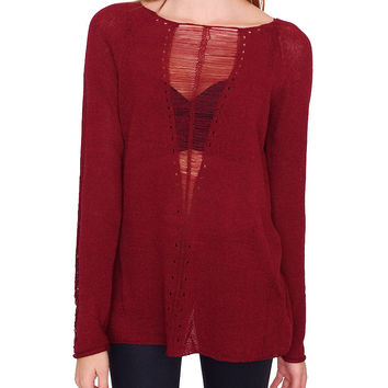 Crush Sweater Top Oxblood