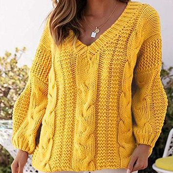 Oversized V Neck Chunky Cable Knitted Sweater