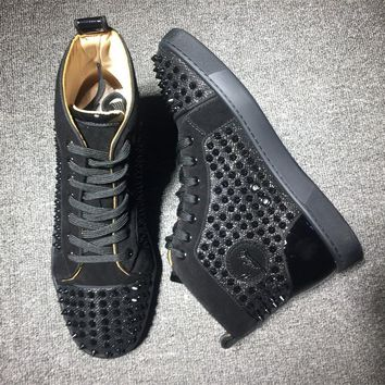 Cl Christian Louboutin Louis Spikes Mid Style #1806 Sneakers Fashion Shoes