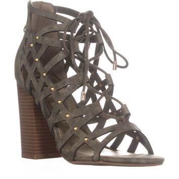 G by GUESS Juto6 Caged Gladiator Sandals, Medium Green, 8 US