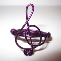 Treble Clef Ring Purple