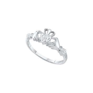 10kt White Gold Womens Round Diamond Dainty Claddagh Heart Ring .01 Cttw 18136