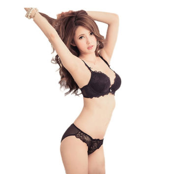 New Women Cute Sexy Underwear Deep V Lace Embroidery Bra Sets Plunge Bra Panty Size 32-36 B NW