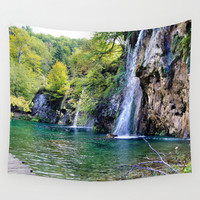 Waterfall in Croatia Large Wall Tapestry by Helsch Photography