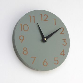 modern numbers clock ash grey