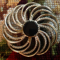 Vintage Silver Tone Sarah Coventry Mystic Swirl Pin Brooch 1960s