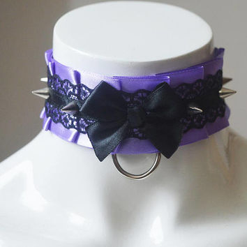 Kitten play collar - Thorned lavender - BDSM proof gothic choker with spikes - black - ddlg dark goth princess sexy satin daddy kink gear