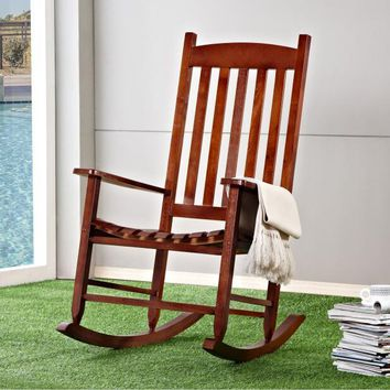 Garden and Patio Wooden Rocking Chair Solid Wood Rocker American Country Style Antique Vintage Adult Recliner Rocking Chair Seat